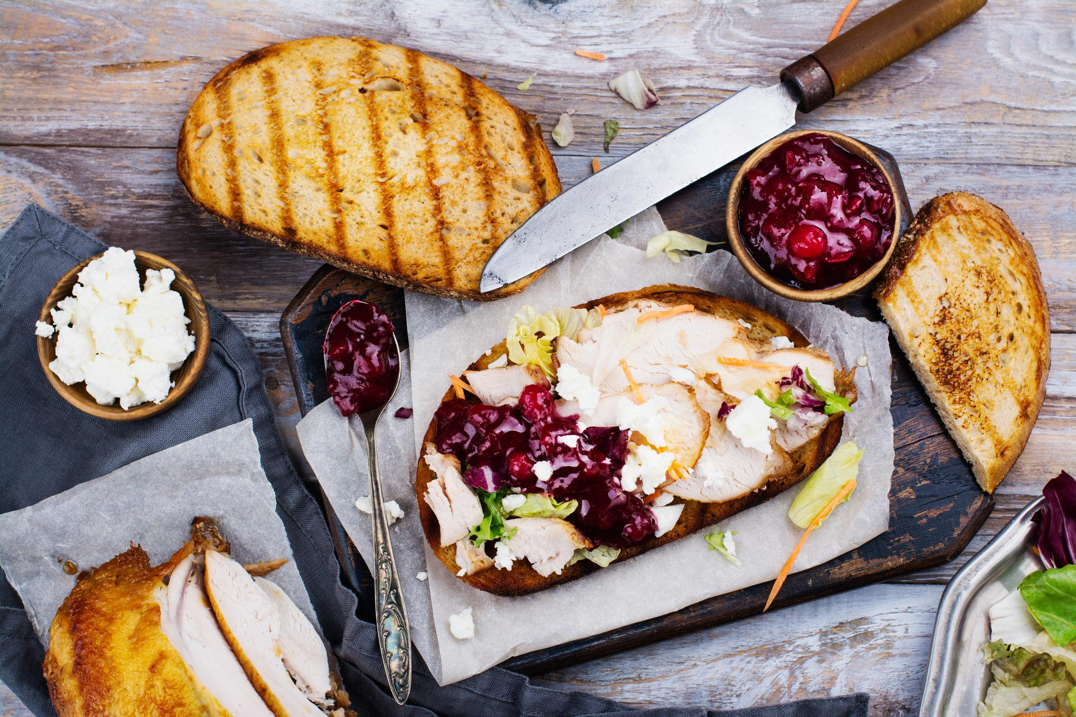 Homemade turkey leftover sandwich with cranberry sauce. Credit: Happy Lark.