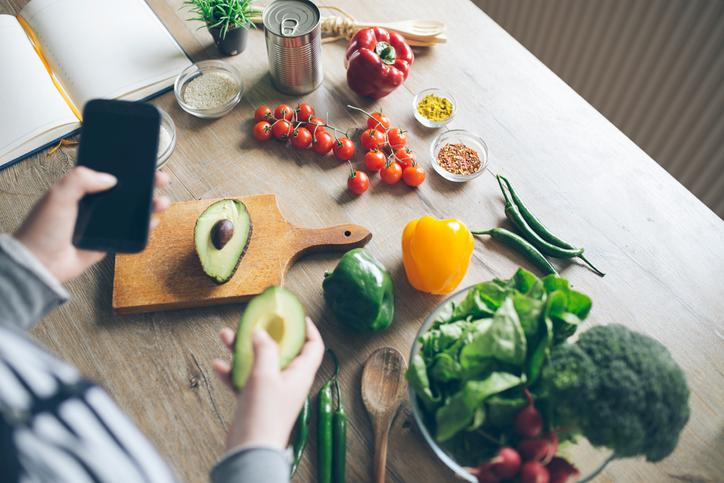 Fight leptin resistance by increasing your fruit and veggie intake. Yes, MORE of these foods may help you lose weight and maintain it. Image: Composition of vegetables and ingredients on wooden table