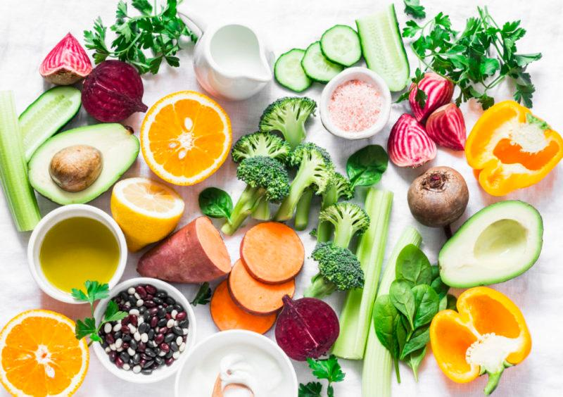 Good sources of vitamins A, B, C, E, K include broccoli, sweet potatoes, orange, avocado, spinach, peppers, olive oil, dairy, beets, cucumber, beens.