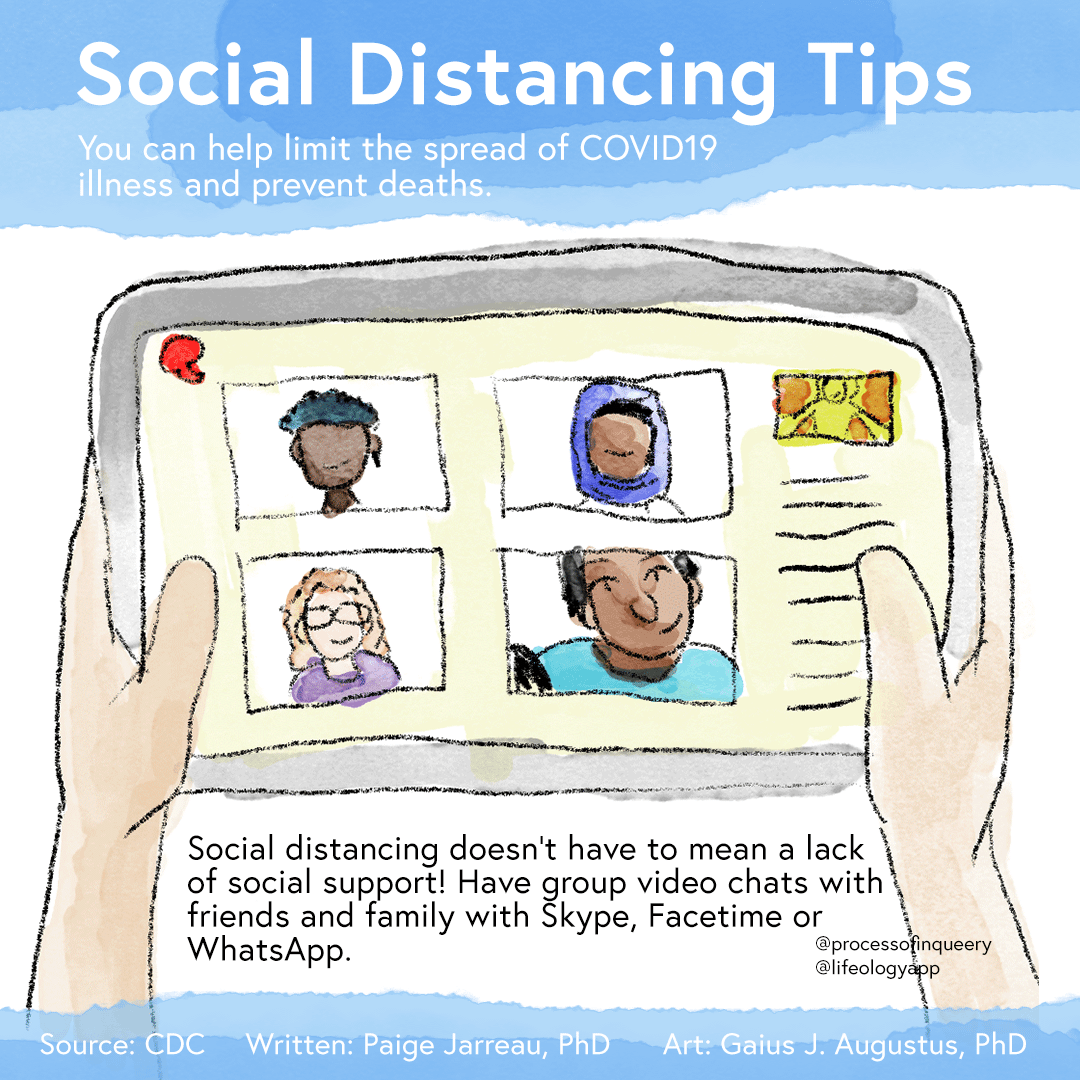 Tips on social distancing, illustrated by Gaius.