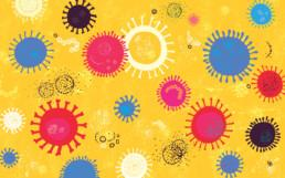 Vibrant vector image made from hand drawn elements depicting virus concept.