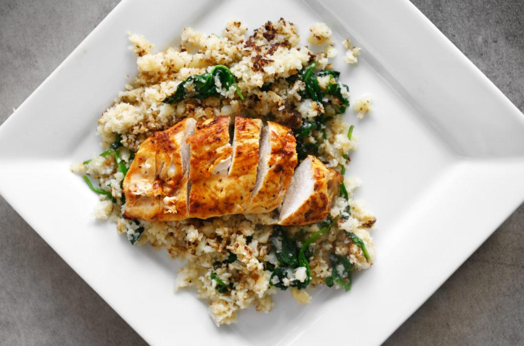 Keto chicken breast with cauliflower rice and spinach, Quebec, Canada