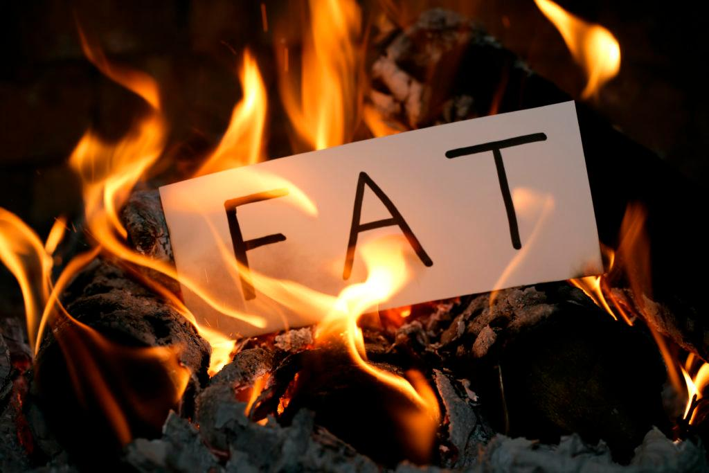 A DSLR photo of burning white paper with a word FAT written on it. It's a real fire with real flames. Can be used as a concept of dieting, weight loss, etc.