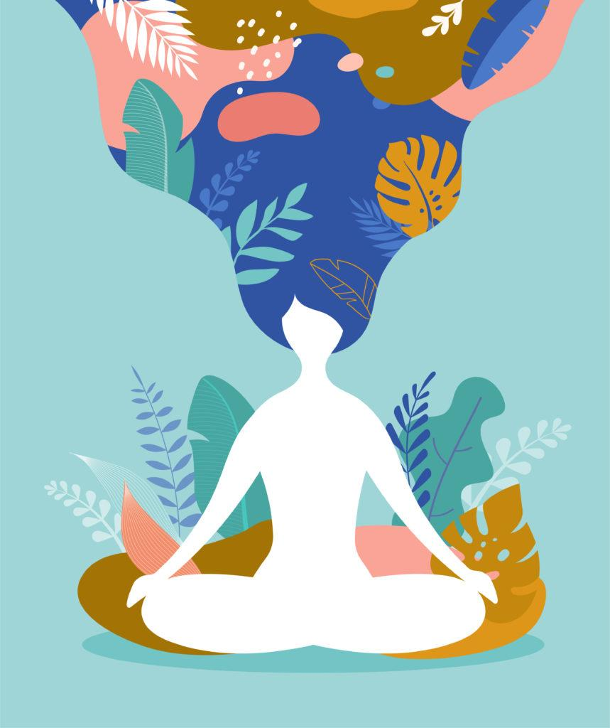 Coping with stress and anxiety using mindfulness, meditation and yoga. Vector background in pastel vintage colors with a woman sitting cross-legged and meditating.. Vector illustration