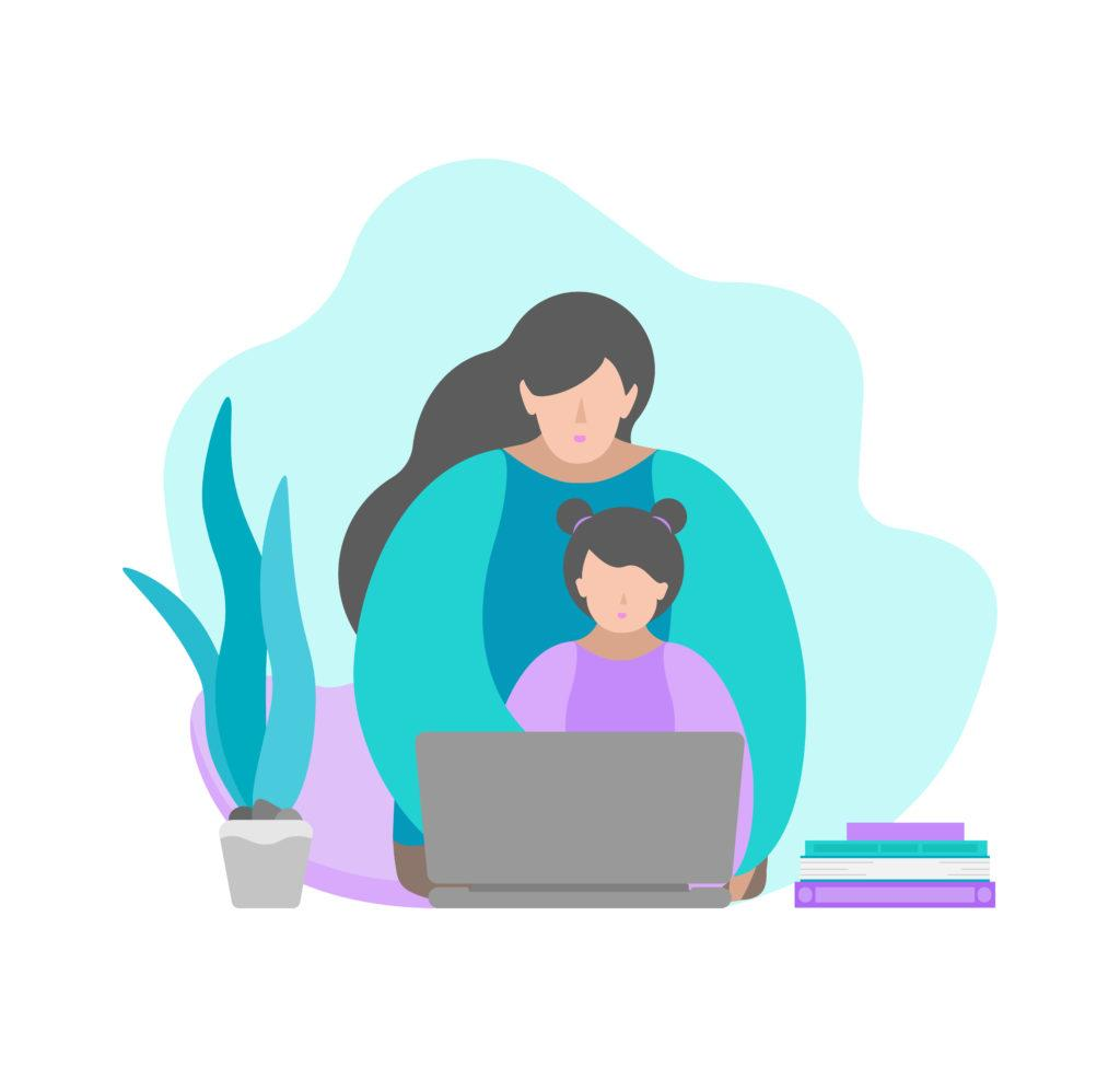Vector illustration in flat style. Sitting mother and child with laptop. Online education with class in quarantine time, making homework with parent's help. Home schooling. Blue and violet colors.