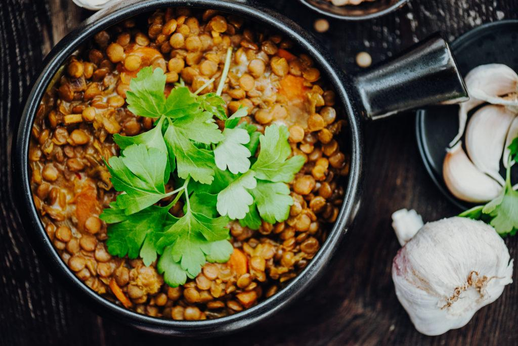 Traditional Indian Red Lentil Dahl with Curcumin and Parsley and Cilantro